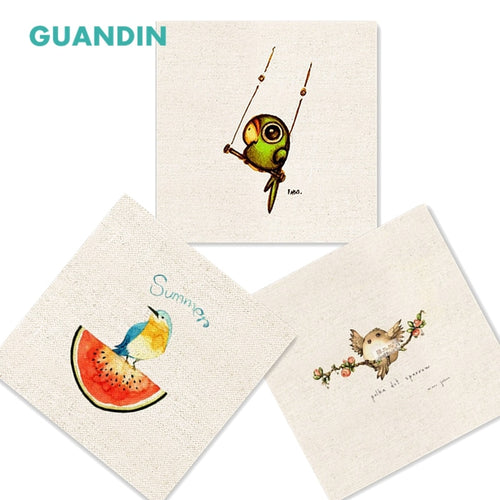 GUANDIN, Hand Dyed For DIY Sewing&Handmade/Table Mat/Mouse Pad Cushions 20*20cm /Plain Printed Cotton Linen Fabric Bird Pattern