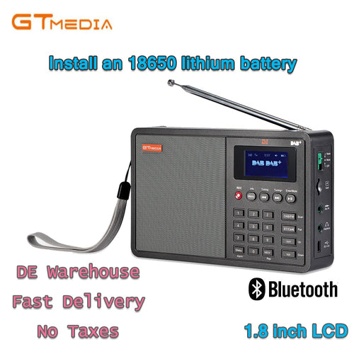 High Quality Radio Professional GTMedia D1 DAB Radio Stero For UK EU With Bluetooth Built-in Loudspeaker Easy Operation Black