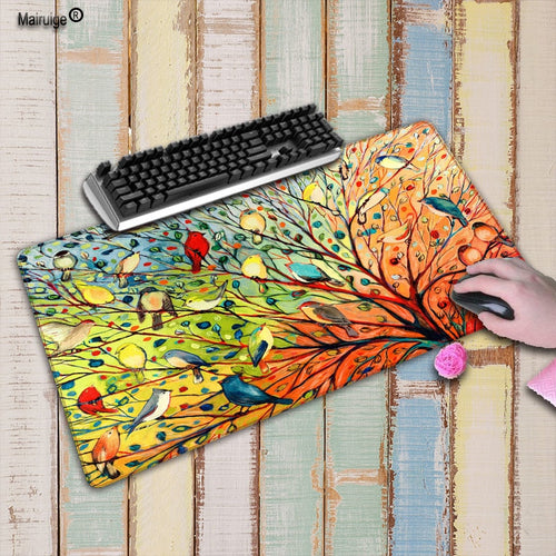 Mairuige Colorful 27 Bird Animal Gaming Mouse Pad Locking Edge Large Mouse Mat PC Computer Laptop Mouse pad for CS GO dota 2 lol