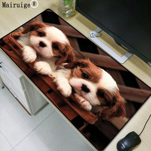 Mairuige Two Cute Dogs Animal Large Mouse Pad Anti-slip Natural Rubber PC Computer Gaming Mousepad Desk Mat for LOL Cs Go DOTA2