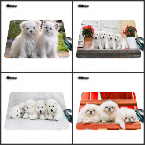 Mairuige White Three Dog New Design Hot Anti-skid Mousepad Computer Mouse Pad for Optal Me Trackball Mouse No Overlock Edge Mat