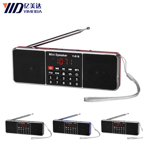Y-618 Mini FM Radio FM dab Radio radyo Speaker USB Rechargeable Music Player Support TF/SD Card with LED Display Screen