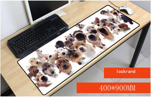 Yuzuoan 900x400X3 mm A Lots Of Dog Large Overlock Animal Mouse pad to Notbook Computer Gaming Rubber Mousepad Table Mat As Gift