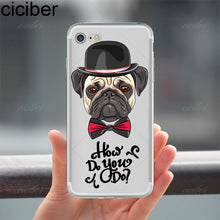 Load image into Gallery viewer, ciciber Animal Cute Pug Dog Pattern Design Soft Silicon Phone Cases Cover for IPhone 6 6S 7 8 Plus 5S SE X Capinha Coque Fundas