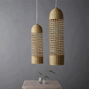 Bamboo Hand-Woven Cylinder Pendant Light By Artisan Living