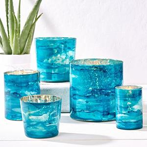 Blue Candle Holders