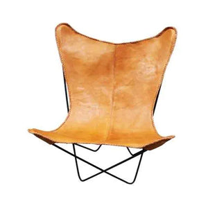 Leather Sling Butterfly Chair- Caramel