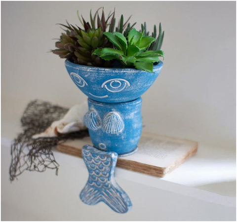 Clay Mermaid Planter Shelf Sitter -Modish Store