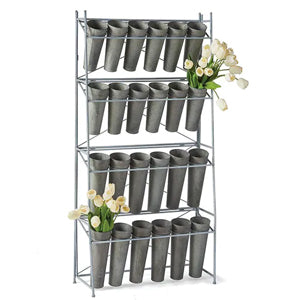 Galvanized 24-Bucket Floral Display Stand By Napa Home & Garden