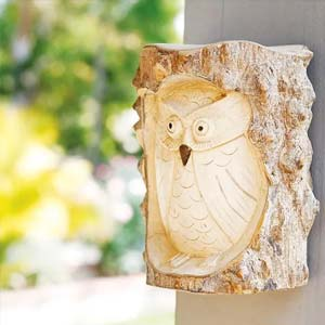 Garden Age Supply Owl In Wall Stump - Set Of 2