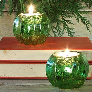 Green Candle Holders