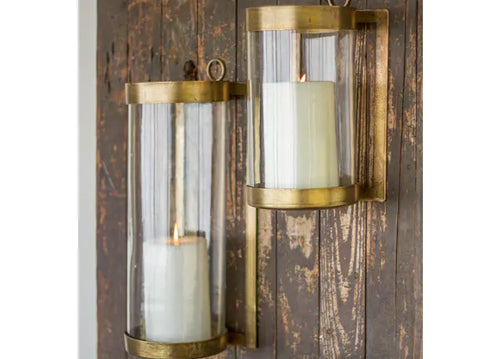 Kalalou Glass & Antique Brass Finish Wall Mounted Hurricane