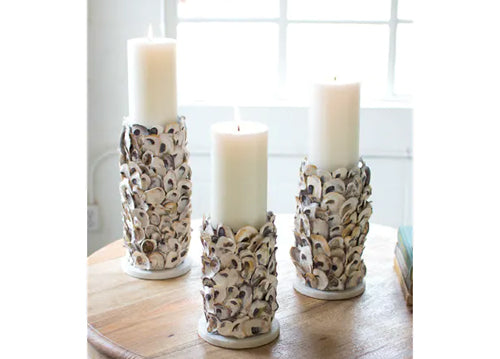 Kalalou Oyster Shell Pillar Candle Holders
