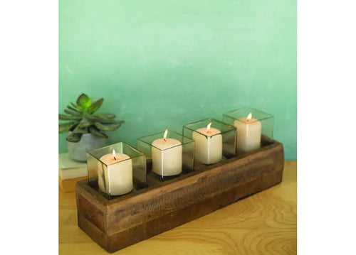 Kalalou Recycled Wooden Candle Holder With Four Hurricanes