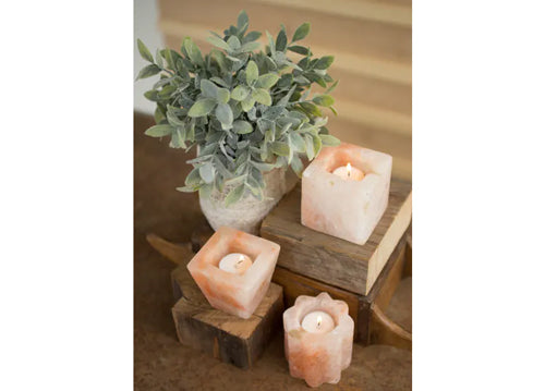 Kalalou Set Of 3 Himalayan Salt Tea Light Holders