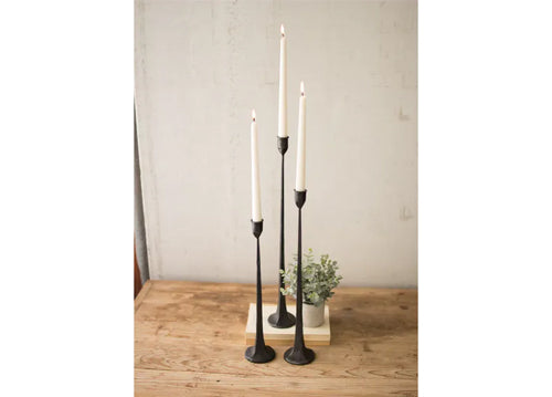 Kalalou Set Of 3 Tall Cast Iron Candle Holders