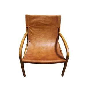 Leather Sling Consuelo Lounge Chair- Natural
