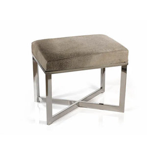 Zodax 20-Inch Leather Stool With Polished Steel Legs