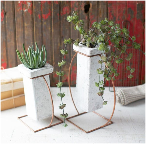 Square Clay White Wash Vases With Copper Base-Modish Store