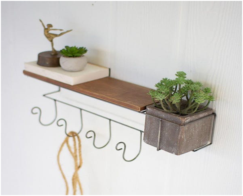 Wall Planter With Shelf & Coat Rack:-Modish Store