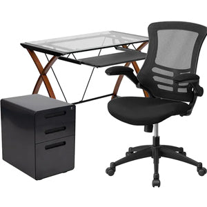Work From Home Box - Glass Desk With Keyboard Tray, Ergonomic Mesh Office Chair & Filing Cabinet With Lock & Inset Handles