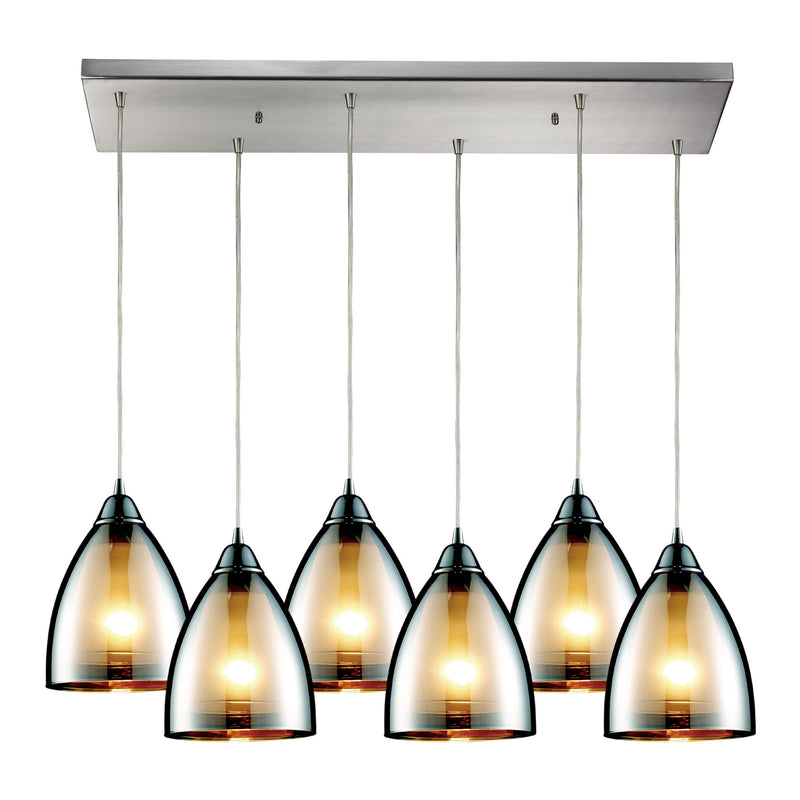 Reflections 6-Light Rectangular Pendant Fixture in Satin Nickel with Chrome-plated Glass ELK Lighting