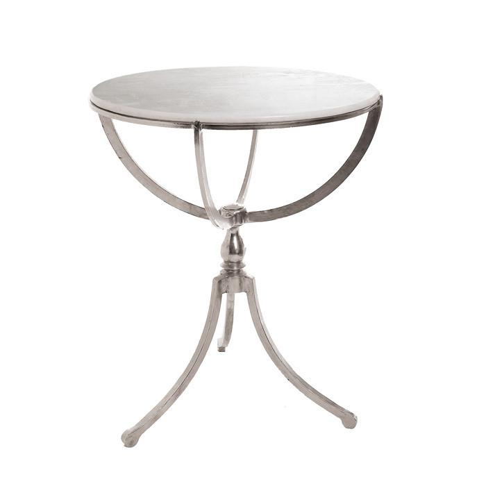 GO Home Art Deco Nickel Round Table With Marble Top