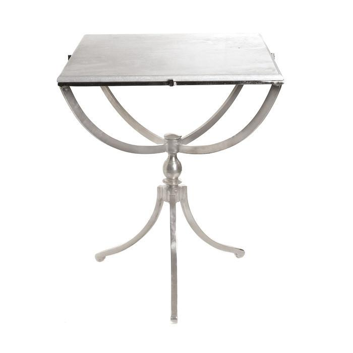 Art Deco Nickel Square Table With Marble Top by GO Home