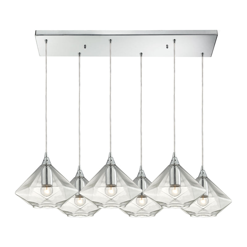 Geometrics 6-Light Rectangular Pendant Fixture in Polished Chrome with Light Amber Faceted Glass ELK Lighting