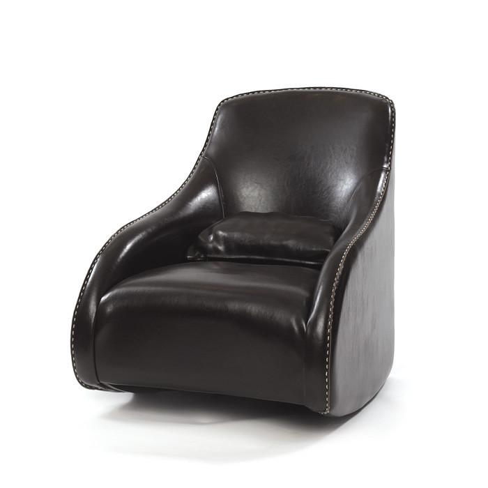 Dark Brown Contemporary Style Leather Chair by GO Home