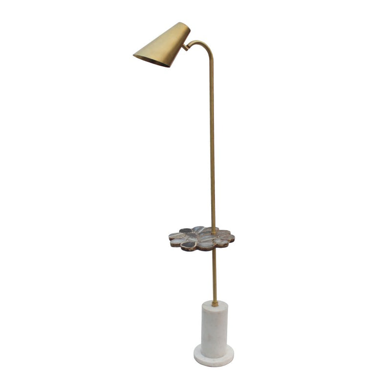 A&B Home Marble Base and Matte Brass Fittings Floor Lamp