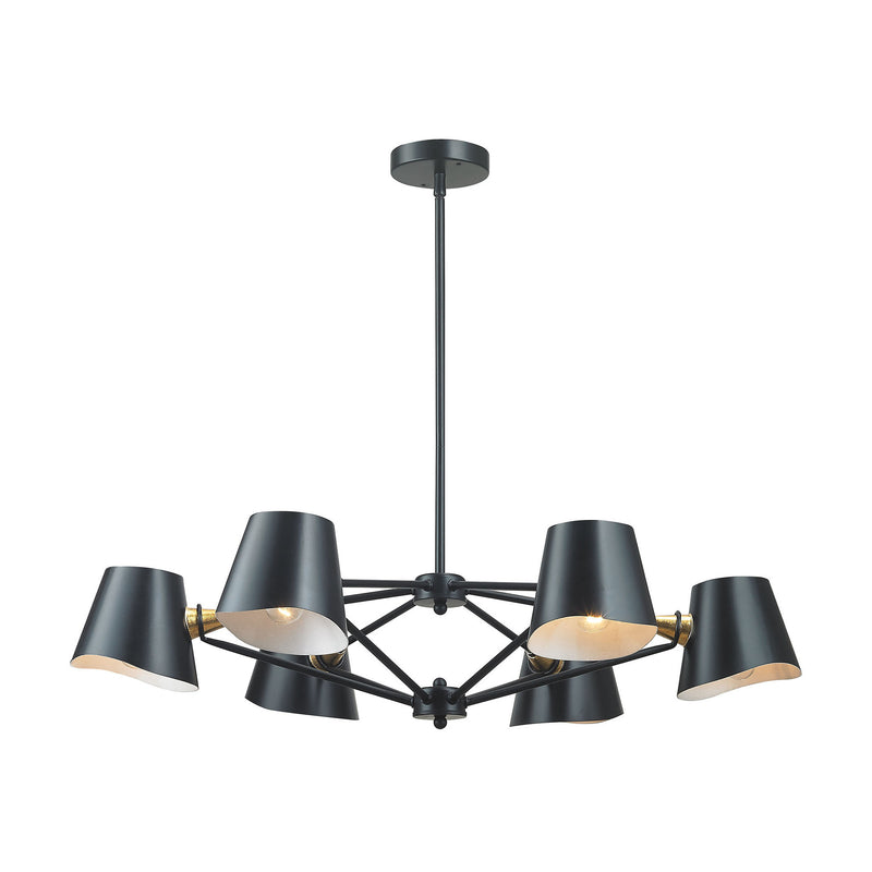 Dimond Lighting Webre 6 Light Chandelier In Matte Black And Gold Leaf Chandeliers, Dimond Lighting, - Modish Store