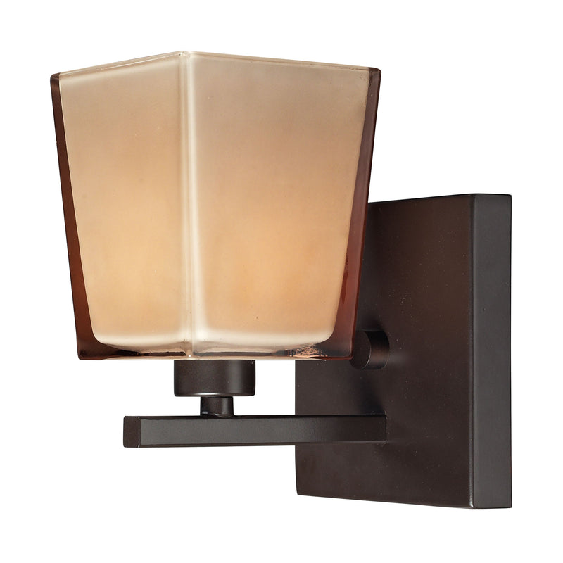 Serenity 1-Light Vanity Lamp in Oiled Bronze with Amber Glass ELK Lighting