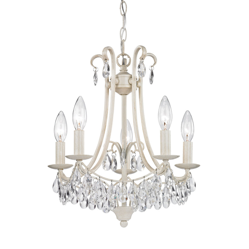 Sterling Industries Mini Chandelier In Antique Cream And Clear