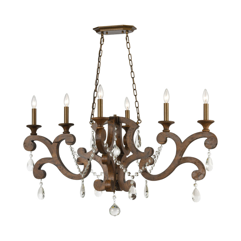 San Sebastian 6-Light Island Light in Spanish Antiquewood and Dark Bronze by ELK Lighting