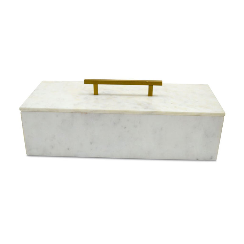 A&B Home White Marble Box With Brass Handle