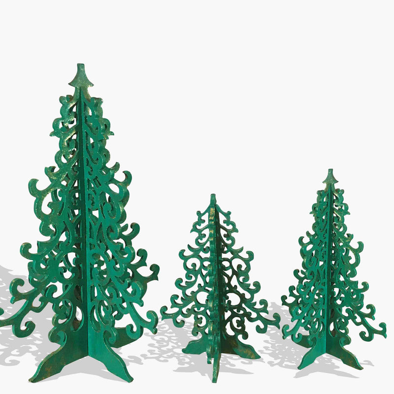 Yuletide Christmas Trees- Wooden-Set of 3- Green/Red/Pink/White