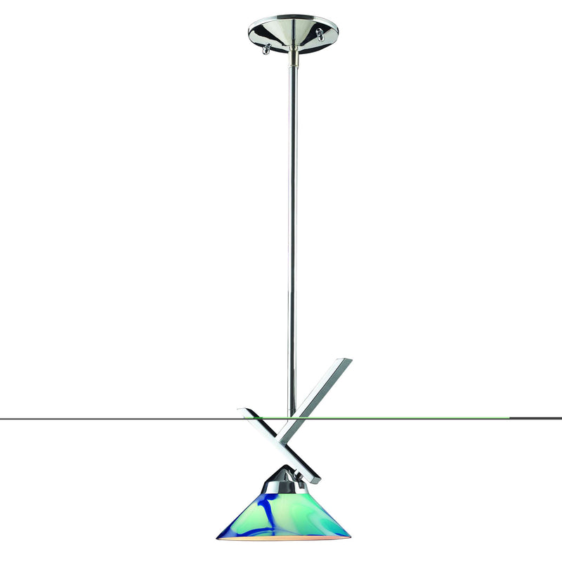 Refraction 1-Light Mini Pendant in Polished Chrome with Caribbean Glass ELK Lighting 1474/1CAR