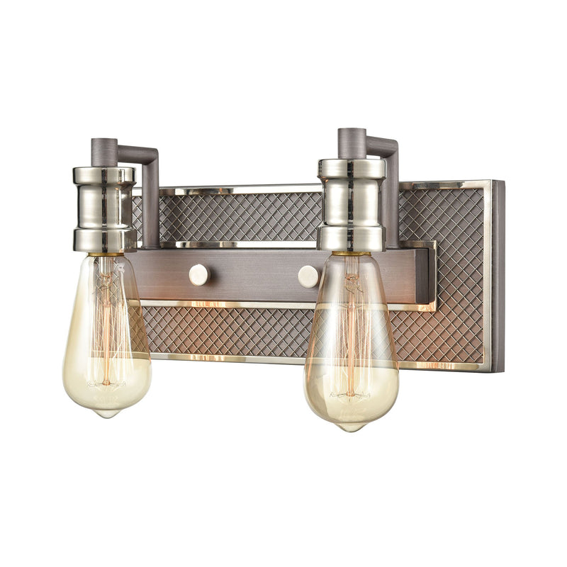 Gridiron Vanity Light in Weathered Zinc and Polished Nickel by ELK Lighting