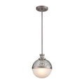 Calabria 1-Light Mini Pendant in Matte Black with Seedy Glass and Matte Black Metal Mesh by ELK Lighting