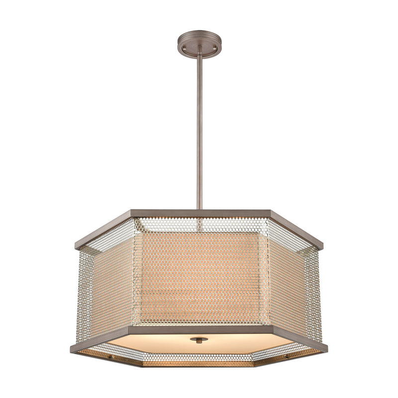 Crestler 6-Light Chandelier in Weathered Zinc and Polished Nickel Mesh with Beige Fabric Shade by ELK Lighting