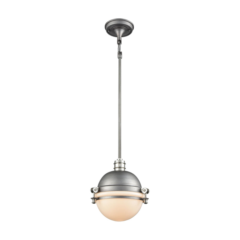 Riley 1-Light Mini Pendant in Weathered Zinc and Polished Nickel with Opal White Glass ELK Lighting 16107/1
