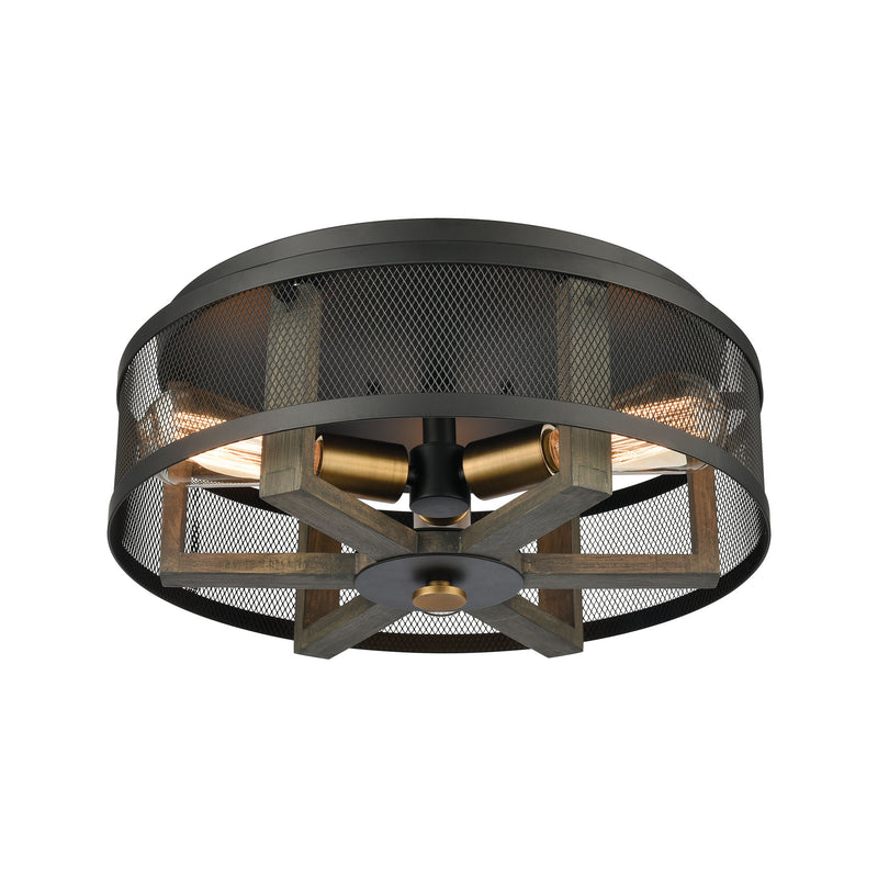 Woodbridge 3-Light Flush Mount in Weathered Oak and Aged Brass with Matte Black Metal Mesh by ELK Lighting