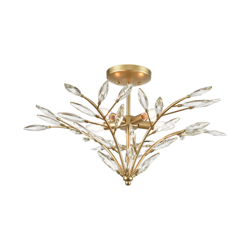 Flora Grace 5-Light Semi Flush in Champagne Gold with Clear Crystal by ELK Lighting