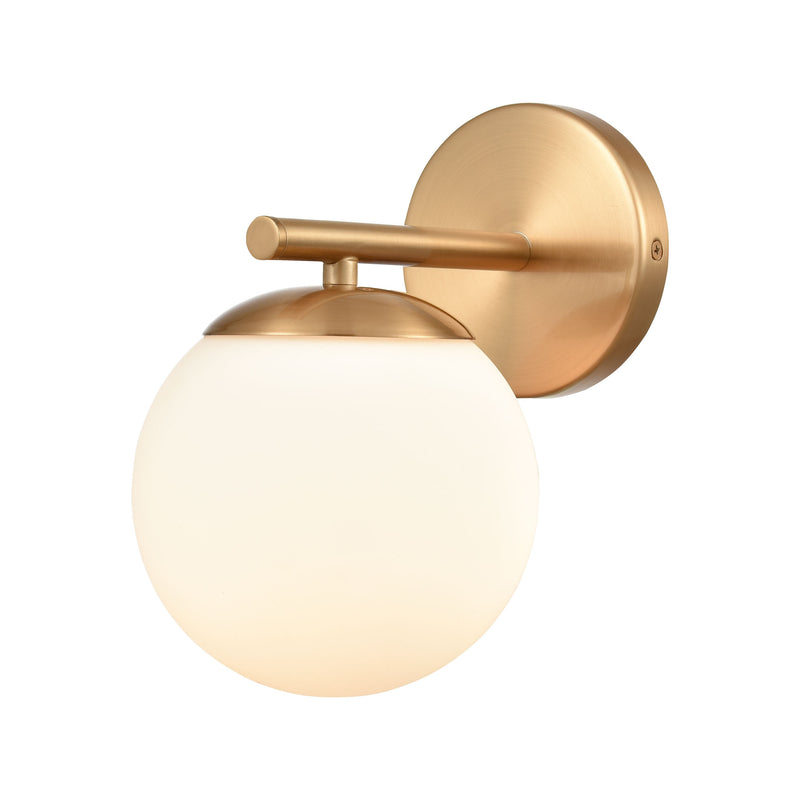 Hollywood Blvd. Vanity Light in Satin Brass with Opal White Glass by ELK Lighting