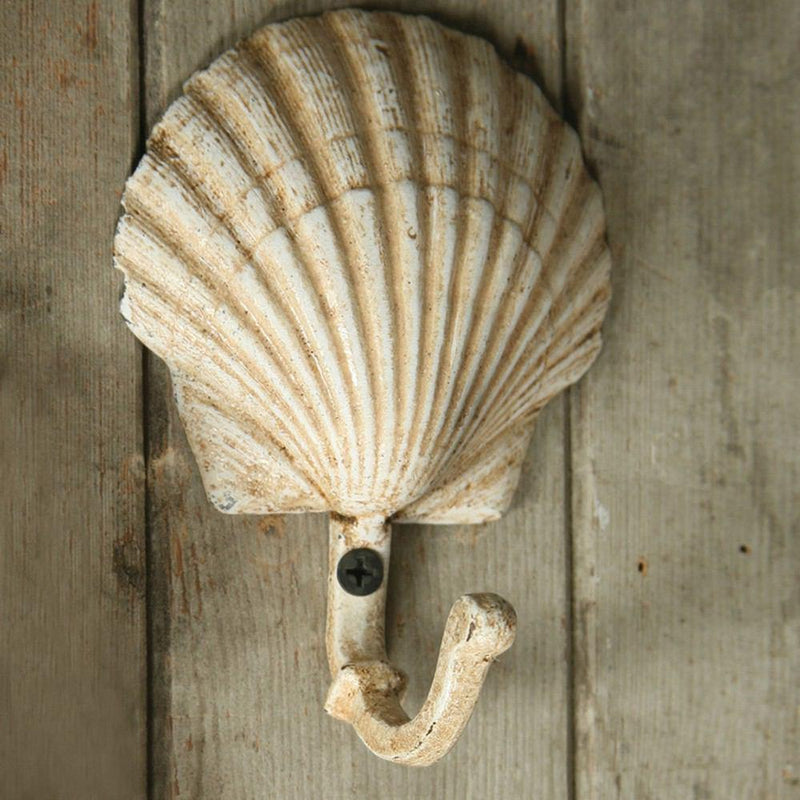 HomArt Seashell Wall Hook - Cast Iron - Scallop - Antique White - Set of 4 - Feature Image