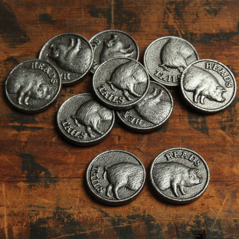 HomArt Heads or Tails Coin - Cast Iron - Antique Silver - Set of 12 - Feature Image