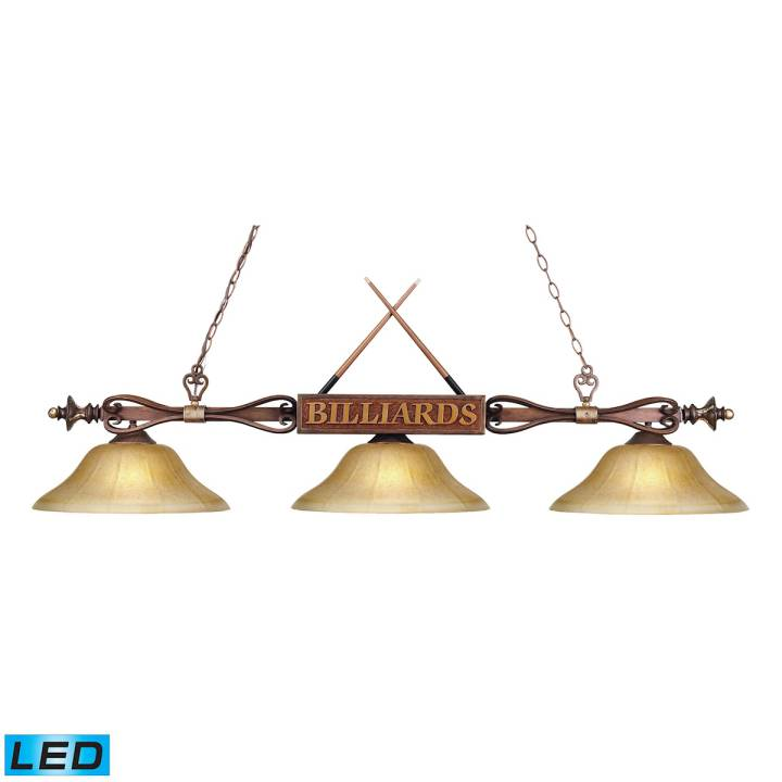 Designer Classics 3-Light Billiard Light in Wood Patina with Billiard Motif - Includes LED Bulbs ELK Lighting