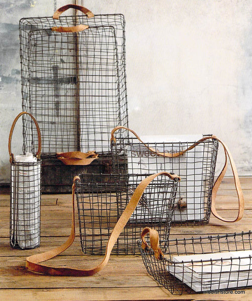 Roost Leather Handled Wire Baskets Modish Store