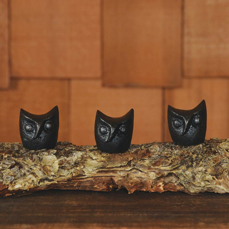 HomArt Owl Head - Cast Iron - Black - Set of 12